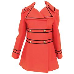 Tomato red wool military style pea coat Junior Gallery 1960s