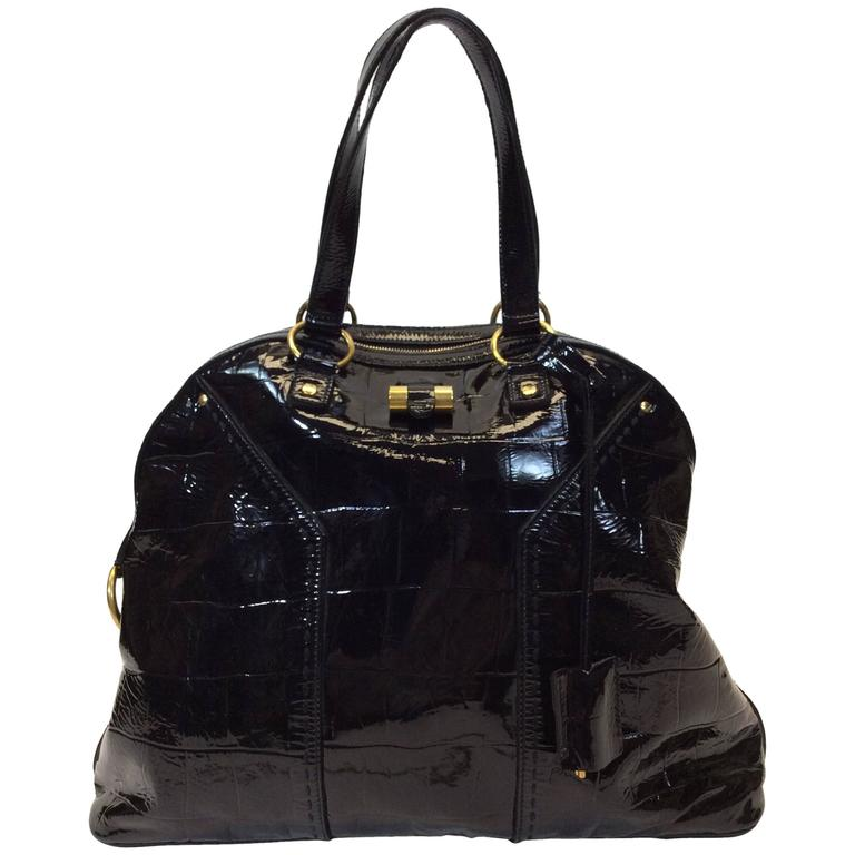 f397b2247828 Yves Saint Laurent Black Patent Leather Large Muse Bag For Sale at ...