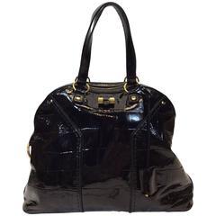 Yves Saint Laurent Black Patent Leather Large Muse Bag