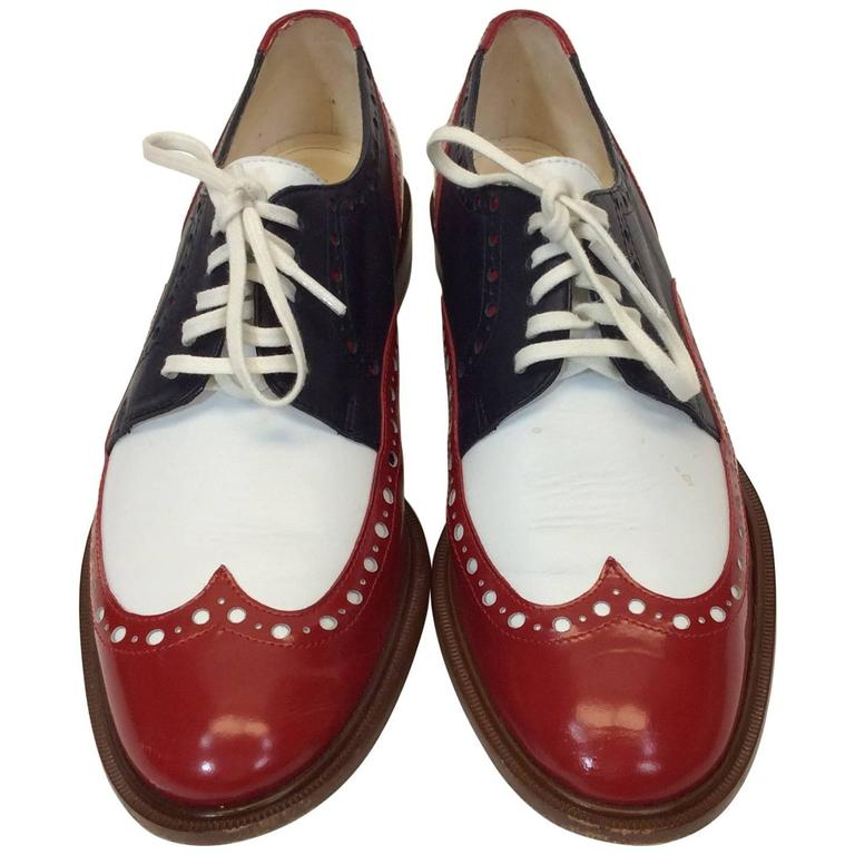 Robert Clergerie Red, White & Blue Leather Oxford Shoe For Sale