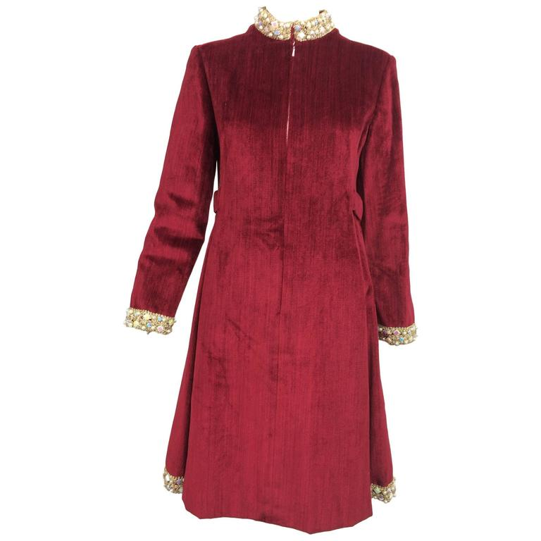 Garnet red silky cotton velvet jewel trim Mod dress 1960s For Sale