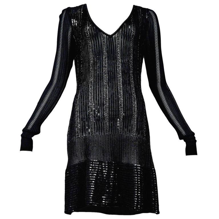 Rare Alaia Black Beaded Cocktail Dress 1996 1