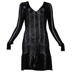 Rare Alaia Black Beaded Cocktail Dress 1996