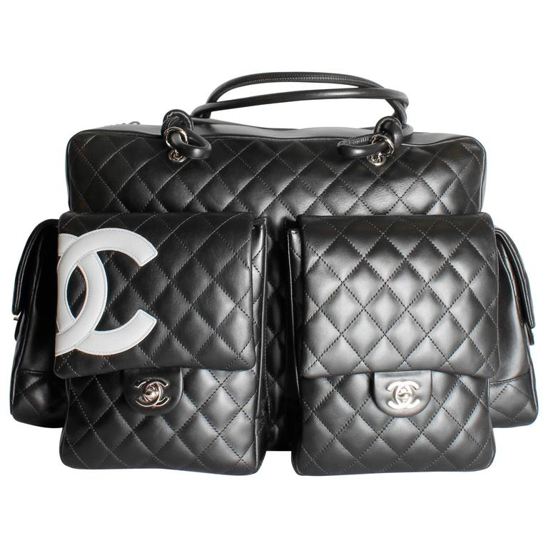 b3b89d1daba3 Chanel Quilted Ligne Cambon Multipocket Reporter XL Bag - black/grey leather  For Sale