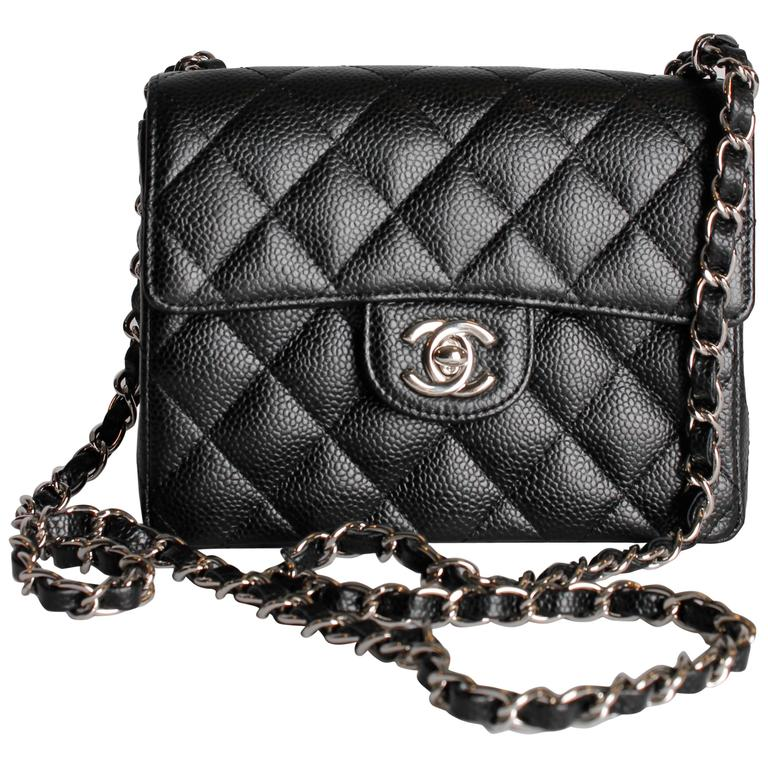 Chanel 2 55 Mini Classic Flap Bag Black Caviar Leather For
