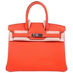 Hermes Birkin Bag 30 Orange Poppy Clemence - silver hardware