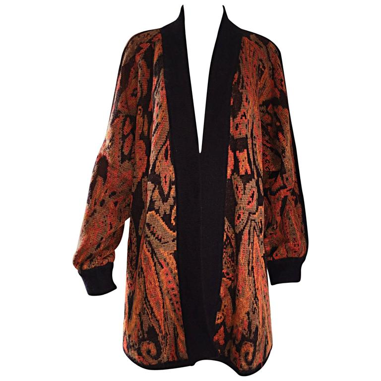 Vintage Escada by Margaretha Ley Autumnal Open Front Paisley Mohair Cardigan  For Sale