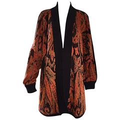 Vintage Escada by Margaretha Ley Autumnal Open Front Paisley Mohair Cardigan