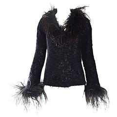 Amazing Vintage 1990s Italian Mohair Ostrich Feather Black 90s Designer Sweater