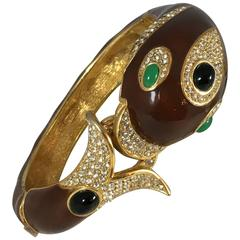 1970s Ciner Brown Enamel Dolphin Bracelet
