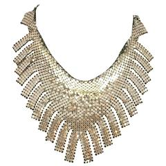 1970s Whiting and Davis Silver Chainmail Metal Bib Necklace with Fringe