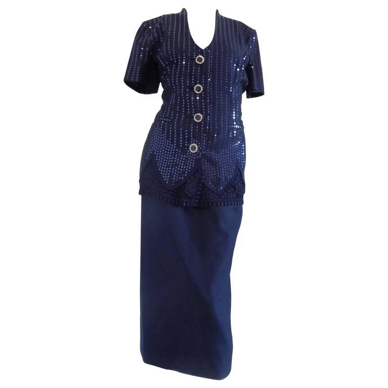 1990s Gai Mattiolo Couture Blu Sequins Suit
