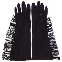 Fringe Benefits C.1980 Yves Saint Laurent Black Kidskin Suede Gloves