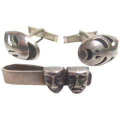 Mexican Sterling Comedy & Tragedy Cuff Links Tie Bar Set c 1960