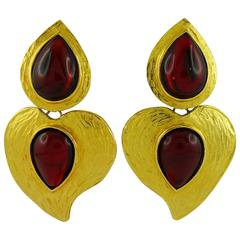 Yves Saint Laurent YSL Vintage Rare Red Glass Heart Dangling Earrings