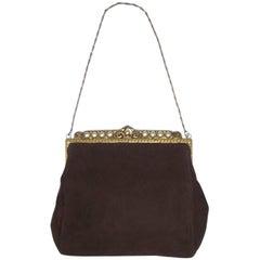Lovely C.1930 Trinity Plate Brown Suede Pearl Encrusted Dance Purse Handbag