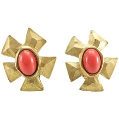 Lacroix Faux Coral Gilt Clip-On Earrings - 1980s