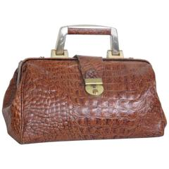 Little embossed crocodile leather doctor bag