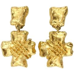 Lacroix Stylized Gold-Plated Cross, by Goossens - 1980s