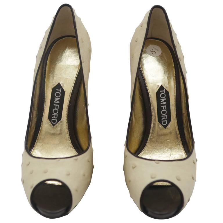 Tom Ford Ostrich Leather Peep-toe Pumps