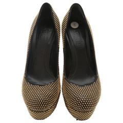 Alexander McQueen Gold Studded Platform Heels