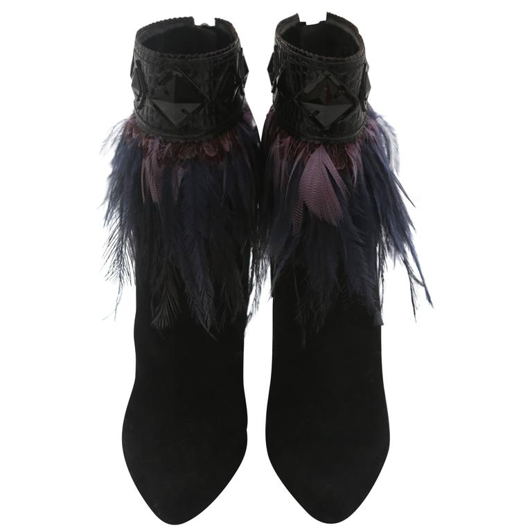 Dior Suede Ankle Boots with Feathers
