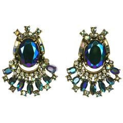 Hollycraft Aurora Stone Articulated Earrings