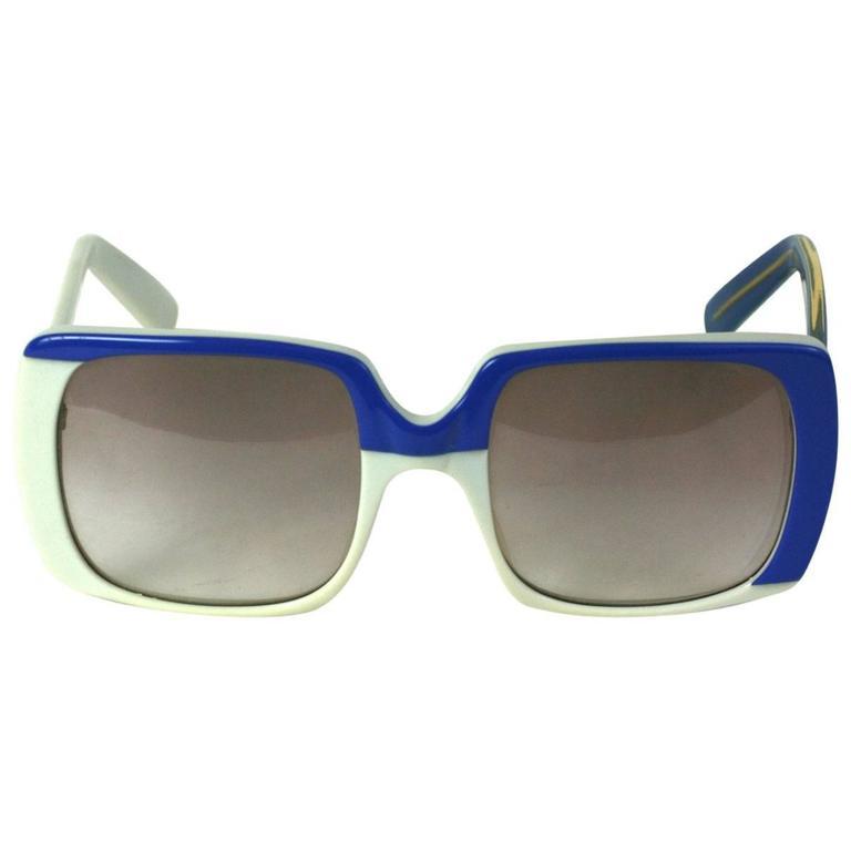 Yves Saint Laurent Blue and White Color Block Sunglasses 1