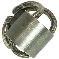 Modernist Silver Metal Buckle Bracelet