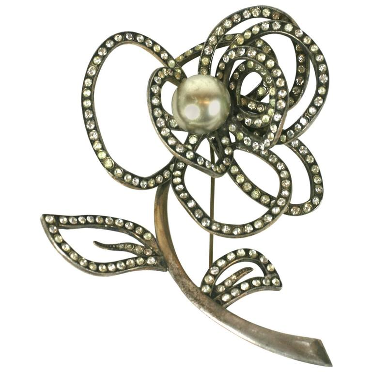 Abstract French Crystal and Pearl Rose Brooch For Sale