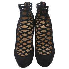 Christian Louboutin Black Suede Caged Booties