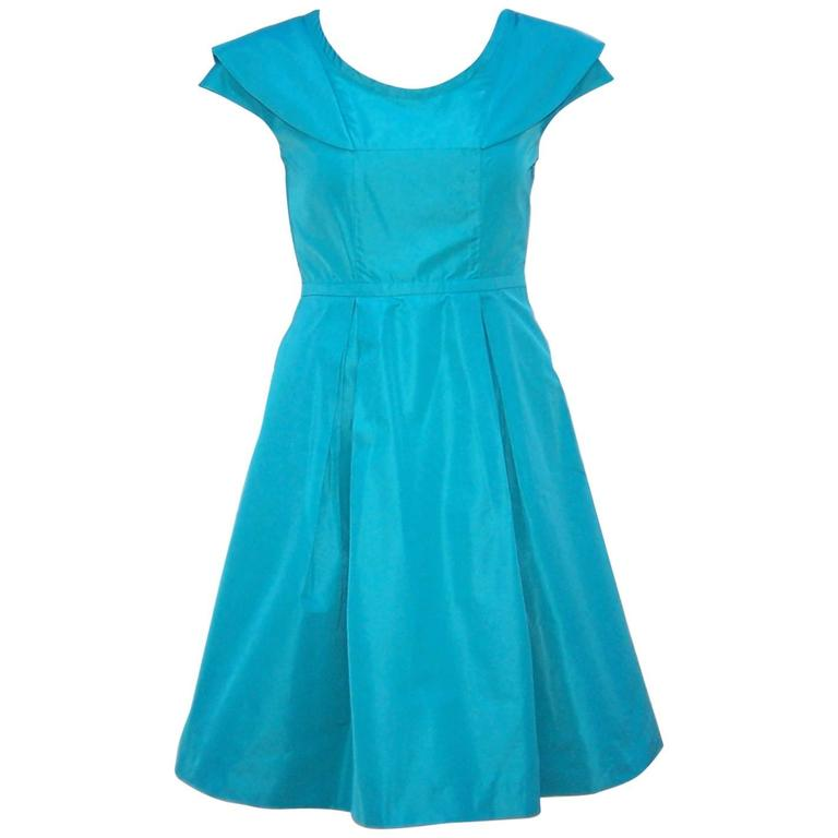Girlish Miu Miu Aqua Blue Taffeta Party Dress  1