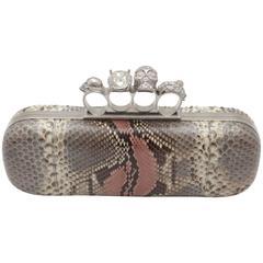 Alexander McQueen Snakeskin Skull Knuckle box clutch