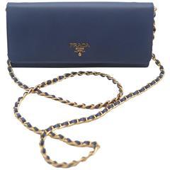 Prada Saffiano Oro Wallet Handbag on a Chain