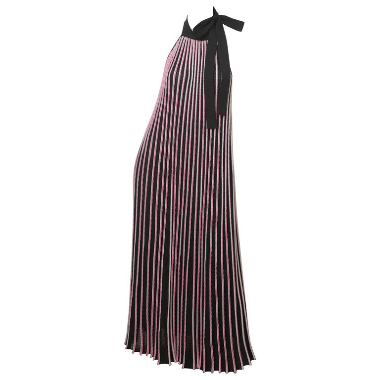 Salvatore Ferragamo Halter Ribbed Backless Floor-length Evening Dress