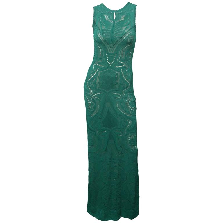 Roberto Cavalli Sleeveless Emerald Crochet Evening Gown For Sale at ...