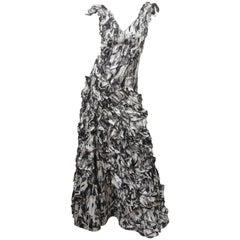 Carlos Miele Photo Print Ruffled Gown
