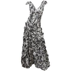 Carlos Miele Photo Print Ruffled Gown
