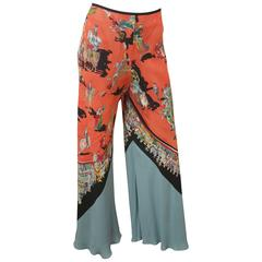 Hermes Wide-Legged Harem Silk Pants