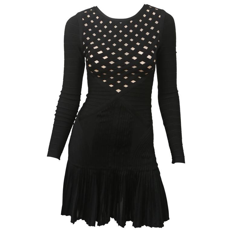 Herve Leger Long-sleeved Basket-weave Dress