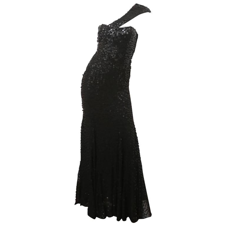 Rachel Gilbert Black Strapless Sequin Evening Gown For Sale at 1stdibs