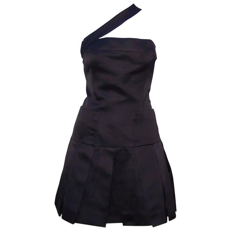 c4430617a3b Fun   Flirty 1980 s Chanel Boutique Black Silk Satin Asymmetrical Strap  Dress ...