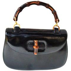 Classic Black Leather  Bamboo Handle Handbag by Gucci