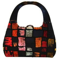 Rare and Colorful Architectural Handbag with Lucite Handles