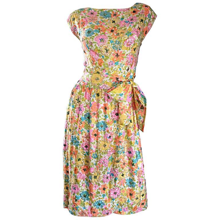 Beautiful Vintage Larry Aldrich 1950s Silk Sequined + Beaded 50s Flower Dress 1