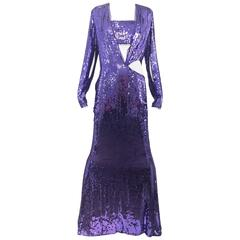 2004 GUCCI by Tom Ford runway purple sequin gown