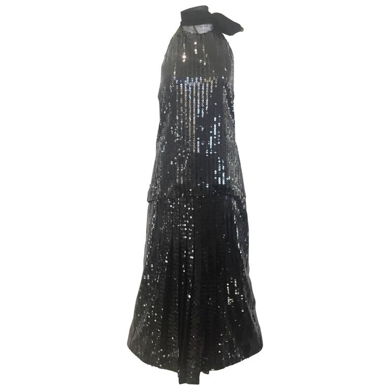 Vintage Christian Dior black sequin Halter top and skirt set