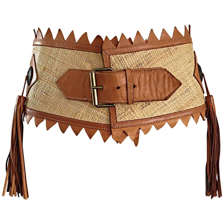 Chic 1970s Tan Saddle Leather and Straw 70s Boho Belt w/ Leather Fringe Tassels  1