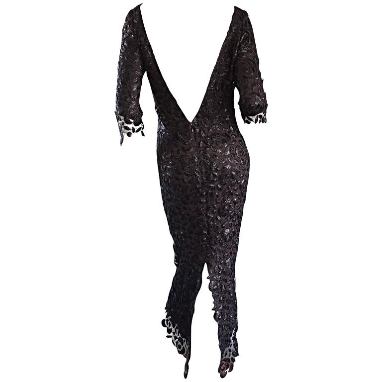 Incredible Vintage Halston NWT $9,800 Black Silk Crochet 3/4 Sleeves Dress Sz 6