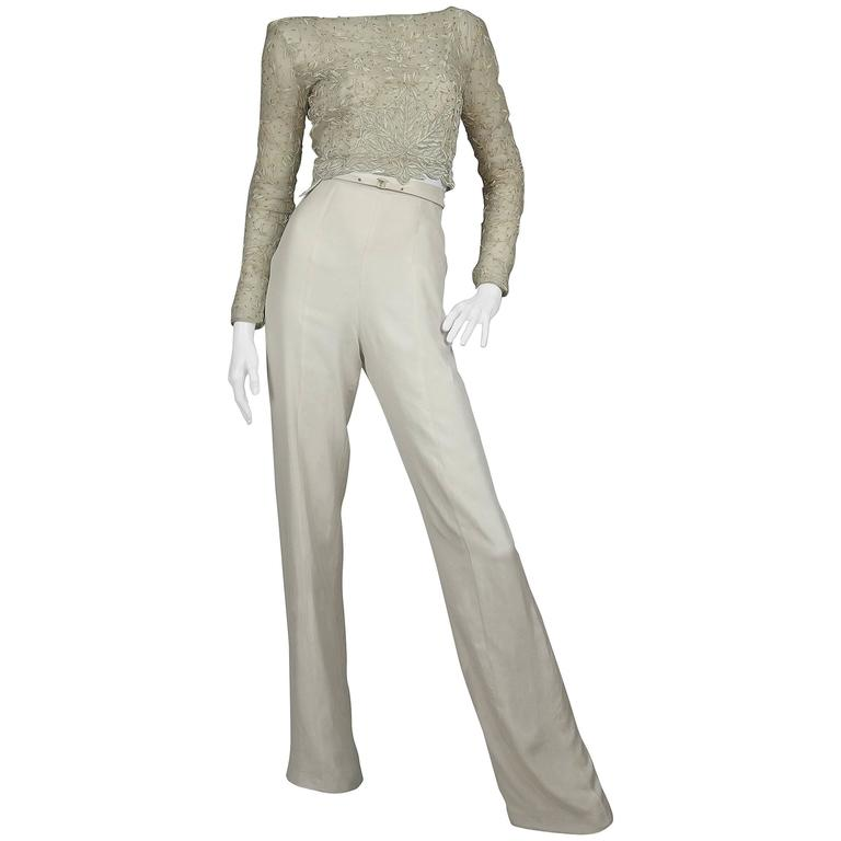 SarahNeuhard Metal Embroidered Top with Silk Trousers